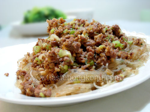 Fried Ground Pork on Bean Threads