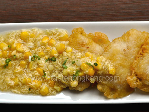 Crispy Fried Fish Fillet with Creamy Corn Sauce
