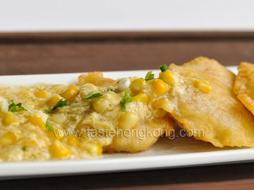Fried Fish Fillets with Corn Sauce