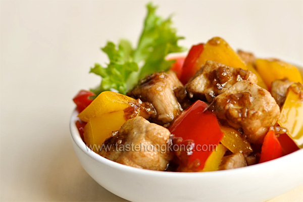 Stir-Fried Pork Cubes with Balsamic Vinegar and Orange Sauce