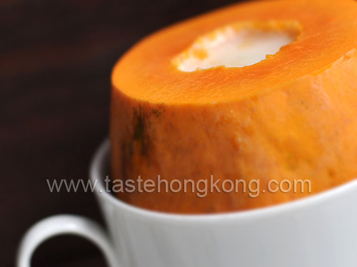 Steamed Papaya with Chinese South Alomond Milk