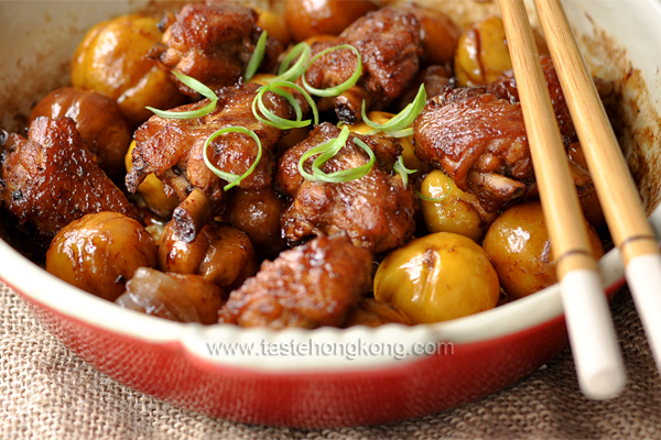 Taste hong kong hong kong food blog with recipes cooking tips braised chinese chestnuts chicken in cast iron dish forumfinder Image collections