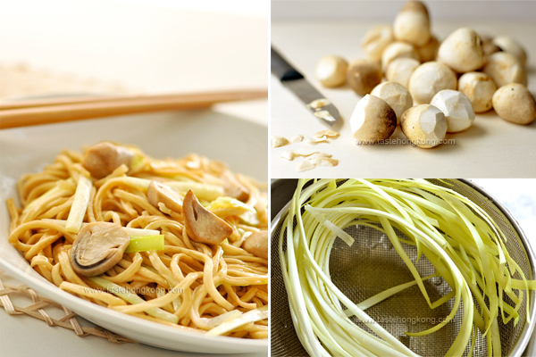Dry-Fried E-Fu Noodles with Straw Mushrooms and Yellow Chives