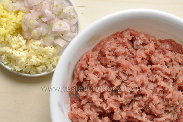 Ground Pork with Shallot, Garlic and Ginger