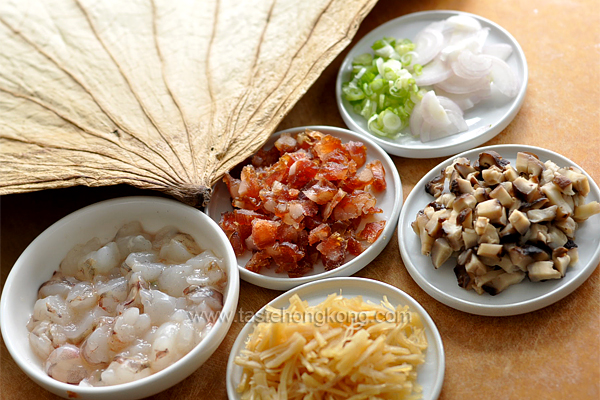 Ingredients for Rice Steamed in Lotus Leaf