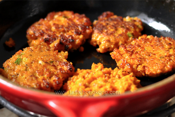Pan Frying Pumpkin Sardine Patties Le Crueset