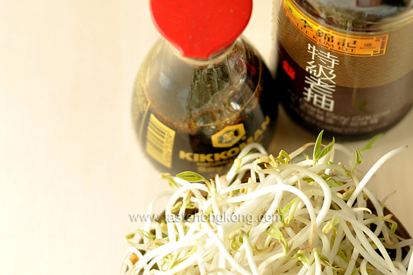 Light Soy Sauce, Dark Soy Sauce and Bean Sprouts