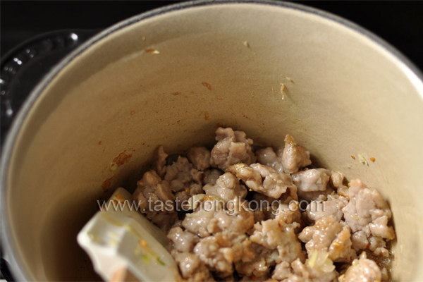 Stewing Ground Pork in Saucepan