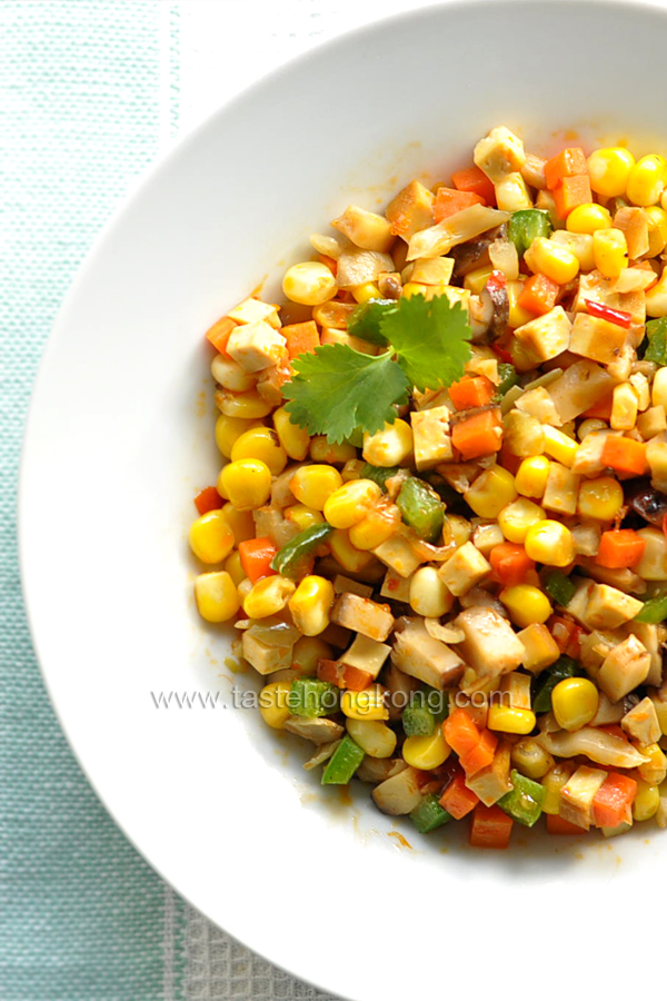 Stir-Fried Corn, a Color Vegetarian Dish