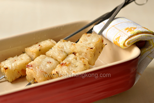 Turnip Cake or Radish Cake on Skewers