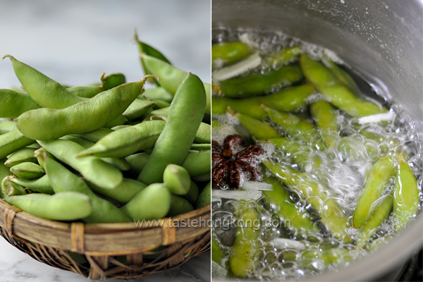 Boiling Edamame with Pepper and Star Anise