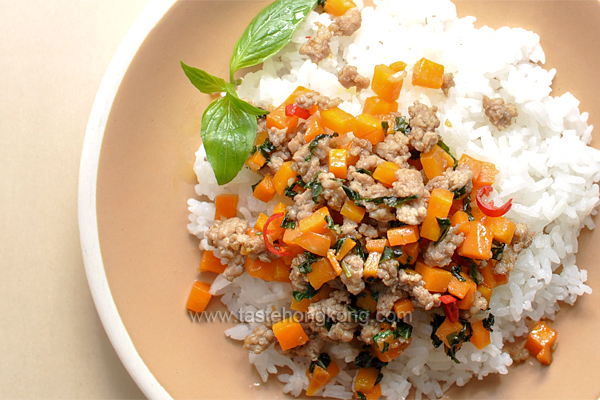 Thai Basil Pork with Carrot, Stir-Fried