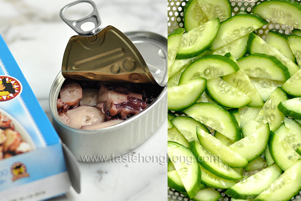 Cucumber and Octopus Salad with Wasabi Vinaigrette, Japanese Style