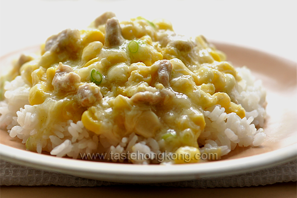 Fresh Sweet Corn Kernels with Pork and a Creamy Sauce