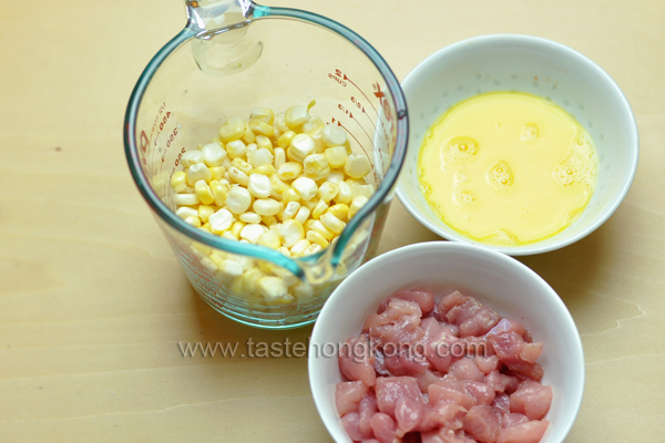 Ingredients for Fresh Sweet Corn Kernels with Pork and a Creamy Sauce