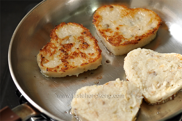 Homemade Lo Bak Go Hearts (Chinese Radish or Turnip Cake)