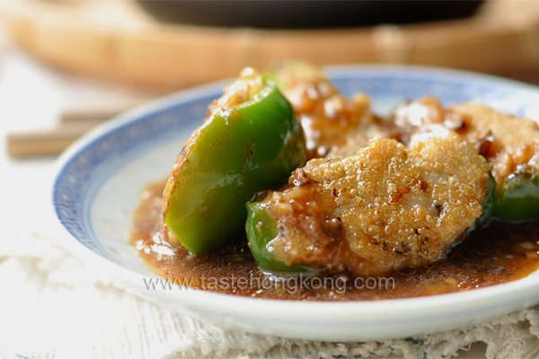 Fried Stuffed Bell Pepper with Homemade Black Bean Sauce, Chinese Style